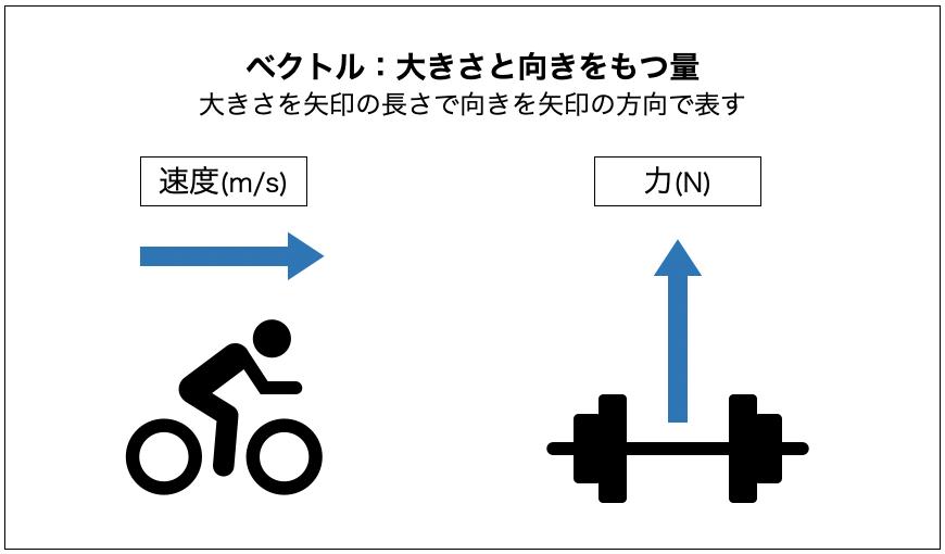 ベクトルとは、速度(m/s)や力(N)のように、数の大きさと向きをもつ量のことです。